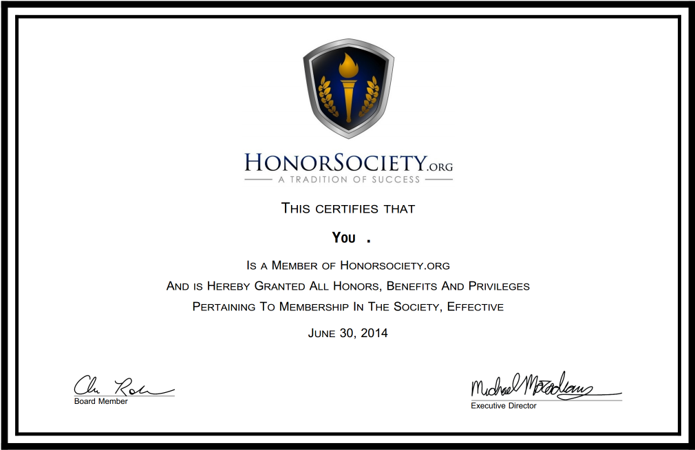 certificate and frames honor society
