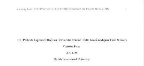 EDC Pesticide Exposure Effects on Detrimental Chronic Health Issues in Migrant Farm Workers