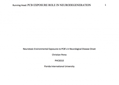 Neurological Degenerative Diseases Linkage to Commercial Polychlorinated Biphenyls (PCBs) Manufacturing a Public Environmental Health Concern